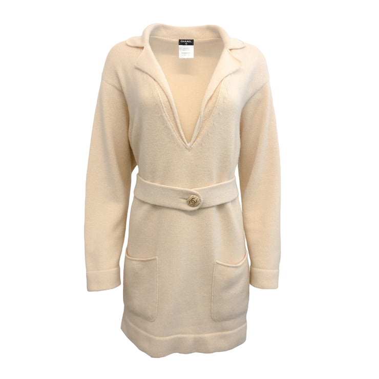Chanel Caahmere V Neck with Belt Ivory Sweater