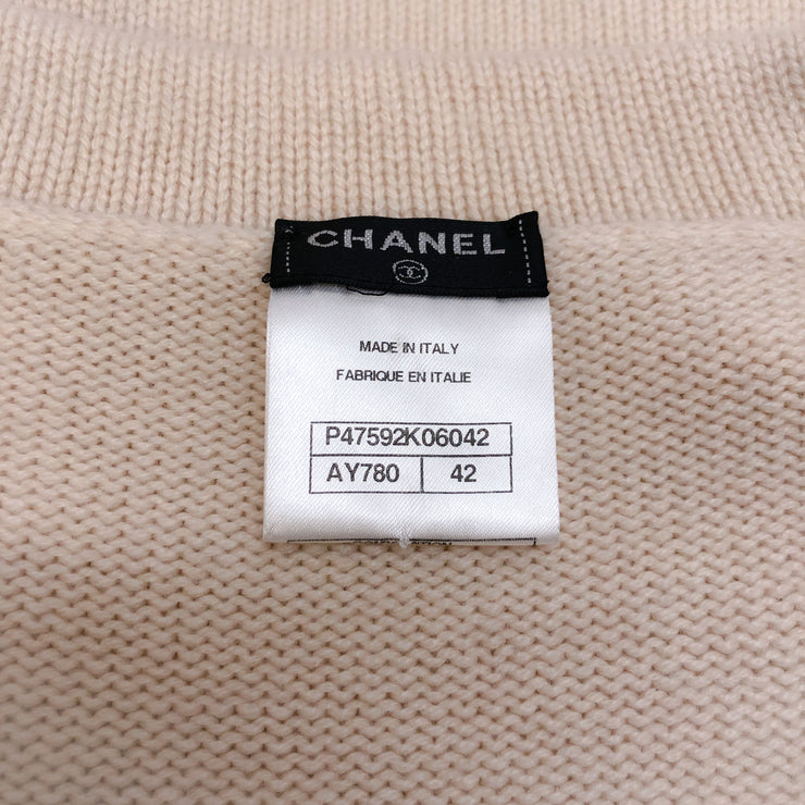 Chanel Cashmere V Neck with Belt Ivory Sweater