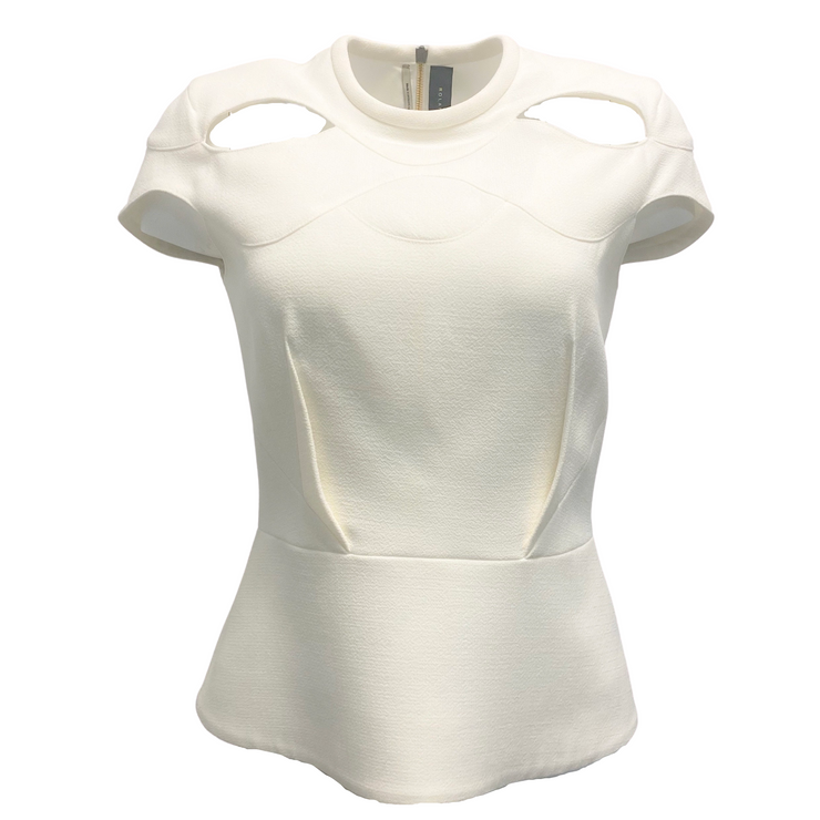 Roland Mouret Hendra Cut Out White Top