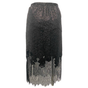 Robert Rodriguez Black Chantilly Lace and Sequined Skirt