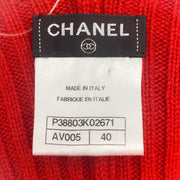 Chanel Red Cashmere Twist Back Dress