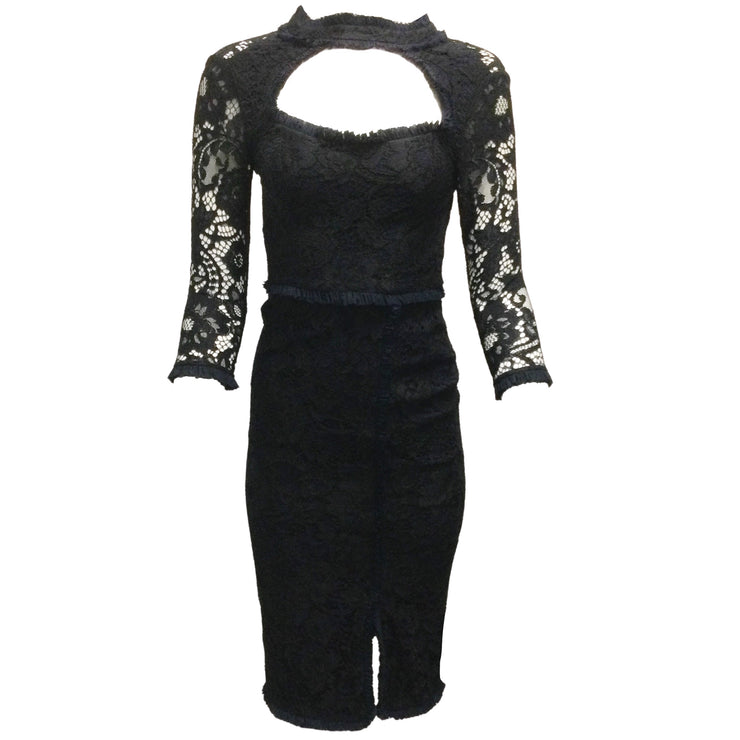 Alexis Black Lace Dress With Navy Blue Ruffled Trim