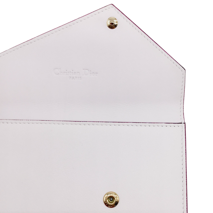 Dior White and Light Blue Small Leather Envelope