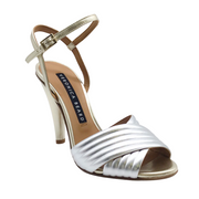 Veronica Beard Silver and Gold Olympia Bombe Sandals
