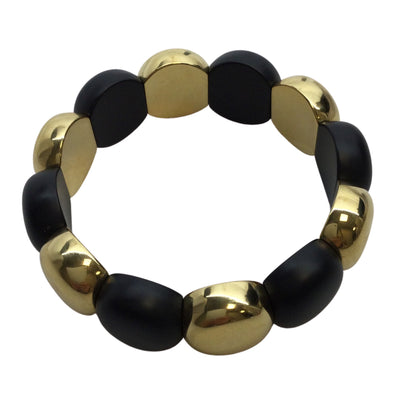 Roberto Demeglio Aura 18k Yellow Gold Overlay Ceramic Stretch Bracelet