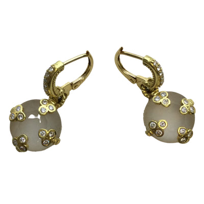 Judith Ripka 18k Gold Diamond Studded Frosted Rock Crystal Earrings