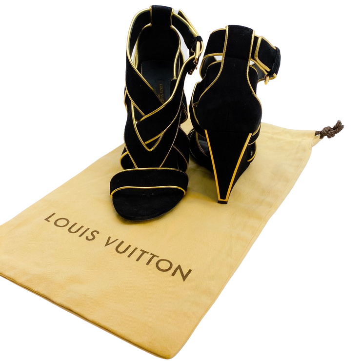 Louis Vuitton Black Suede and Gold Trim Wedges