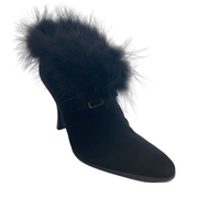 Hermès Black Suede Fur Ankle Boots/Booties
