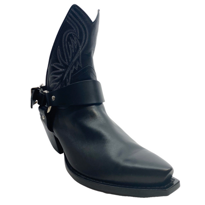R13 Black Western Cut Out Ankle Boots/Booties