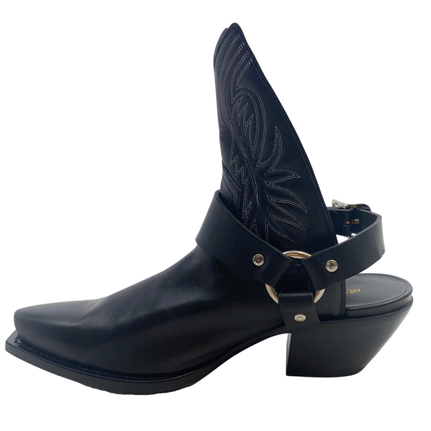 R13 Black Western Cut Out Ankle Boots