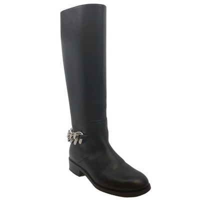 Givenchy Black Tall Leather Ankle Chain Boots