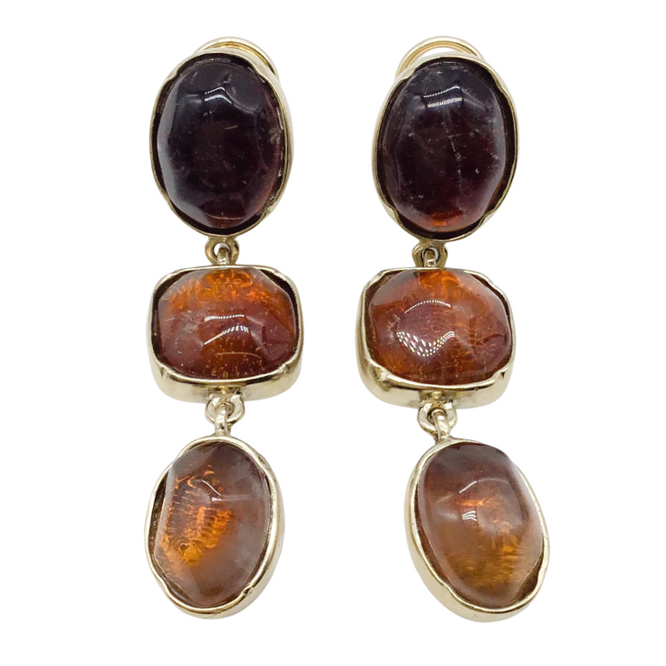 Goossens Paris Gilded Bronze and Amber Earrings