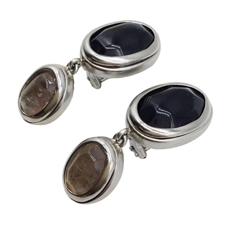 Goossens Paris Grey Gold Smokey Quartz Earrings