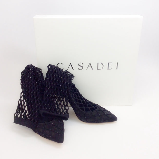 Casadei Black Spidergirl Fishnet Pumps