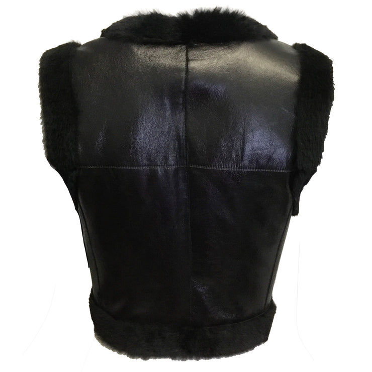 Chanel Black Cropped Leather Vest
