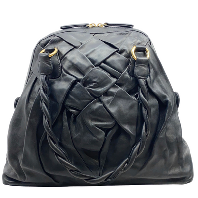 Valentino Woven Lacca Dome Black Leather Shoulder Bag
