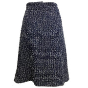 Chanel Navy Blue Textured Tweed Skirt