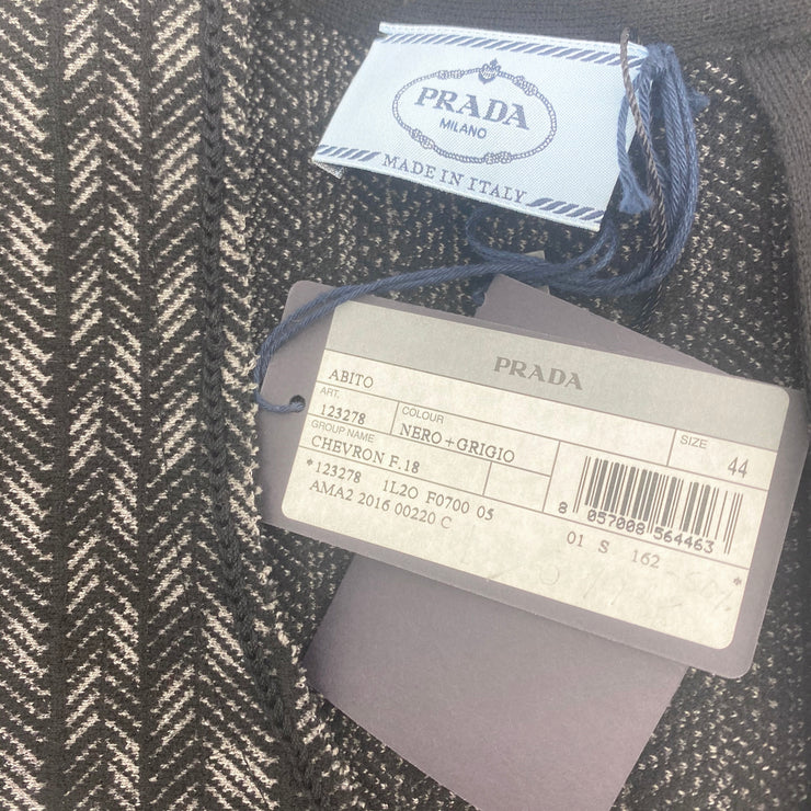 Prada Black and Grey Chevron Knit Fit Flare Cocktail Dress