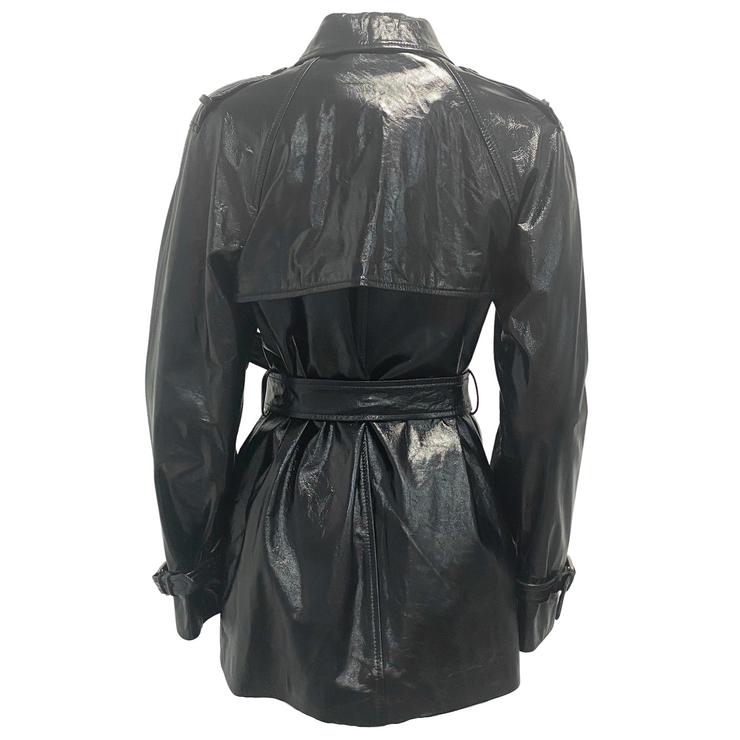 Dolce&Gabbana Black Patent Leather Belted Coat