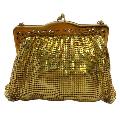 Whiting & Davis Vintage Gold Mesh Mini Evening Clutch Bag