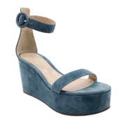 Gianvito Rossi Teal Suede Wedge Sandals
