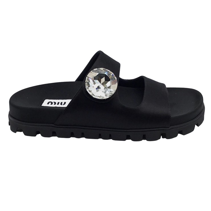 Miu Miu Black Crystal Button Slide Sandals