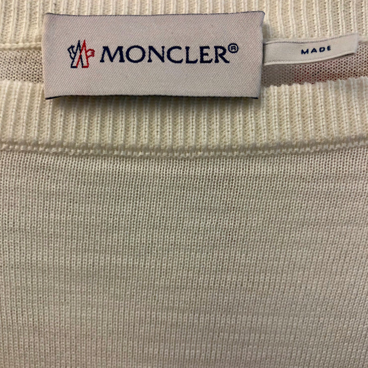Moncler Embroidered Floral Sleeves Ivory Pullover