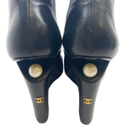 Chanel Black Leather and Pearl Wedge Ankle Boots