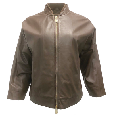 Peserico Brown Cropped Sleeves Bomber Jacket