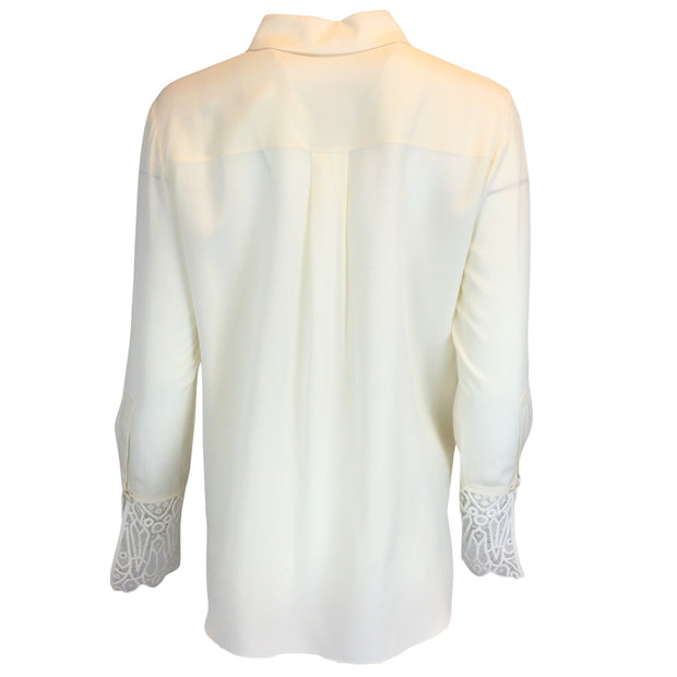 Chloé Ivory Silk Button-Down Shirt With Lace Detailing
