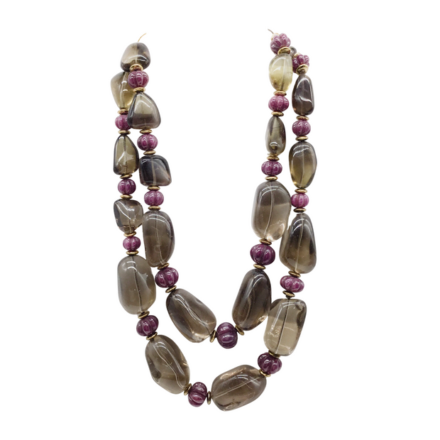 Bounkit Smokey Quartz and Ruby Double Strand Necklace