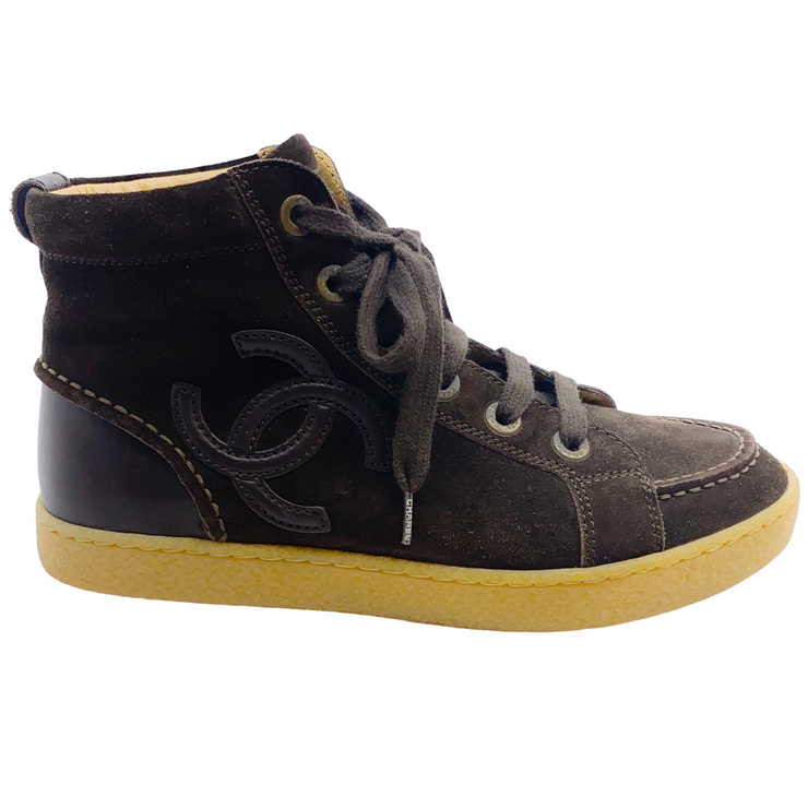 Chanel Brown Suede High Top Sneakers