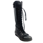 Fendi Black Leather Lace Up Flat Boots