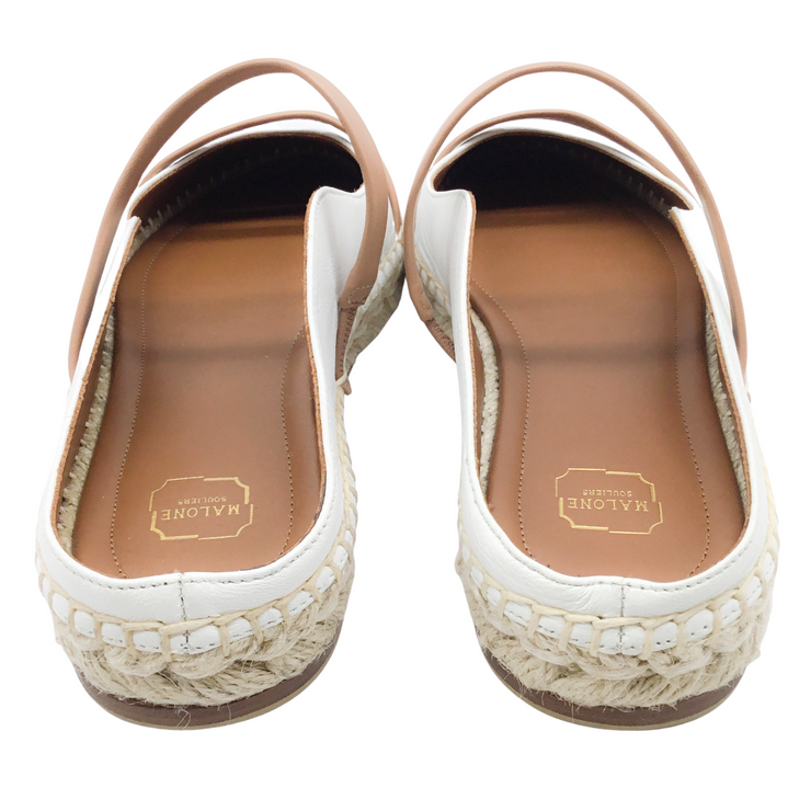 Malone Souliers White and Tan Leather Sienna Espadrilles