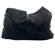 The Row Bindle Knot Black Suede Hobo Bag