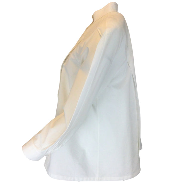 Chloé White Poplin Pleated Puff Sleeved Blouse