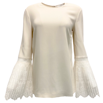 Stella McCartney Cream Pleated Lace Bell Sleeve Blouse