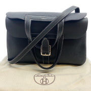 Hermès 2016 Black Clemence Halzan Black Shoulder Bag