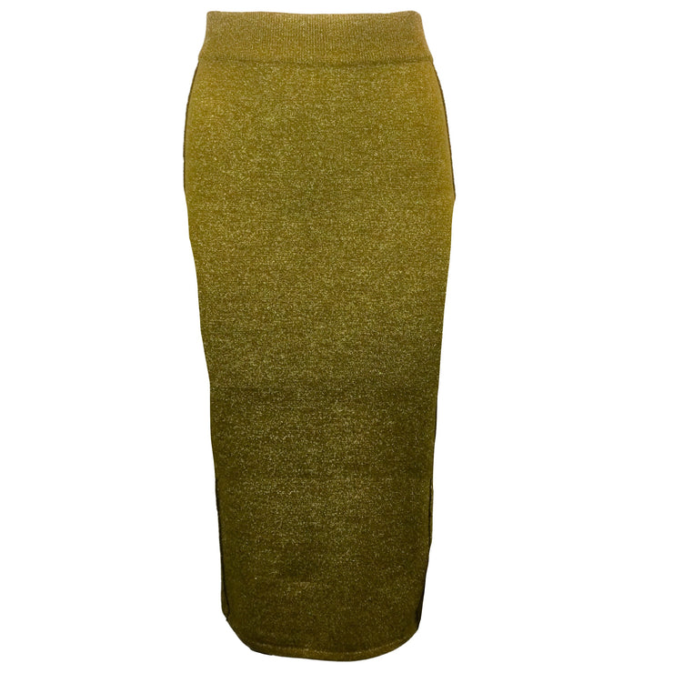 Forte Forte Gold Metallic Viscose & Wool Knit Skirt