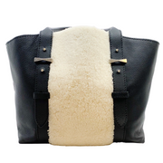 Alexander McQueen Black Leather and Shearling Tote