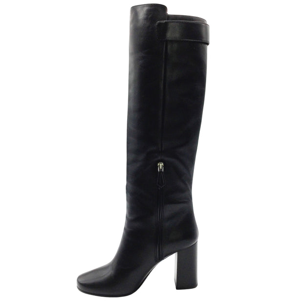 Prada Black Leather Knee-High Boots