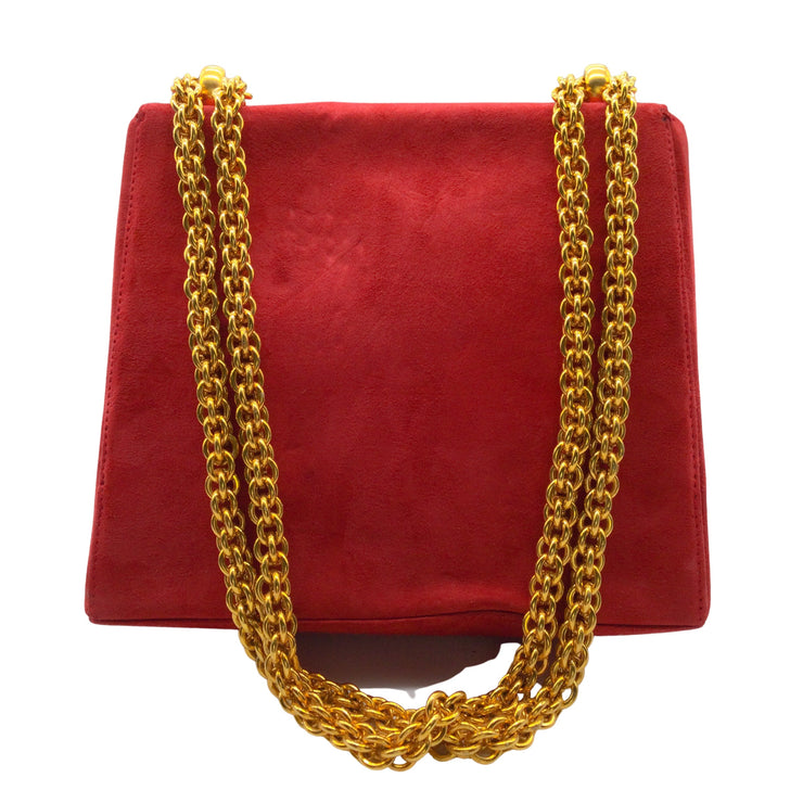Paloma Picasso Vintage Red Suede Gold Chain Shoulder Bag