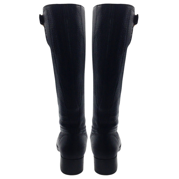 Prada Black Pebbled Calfskin Leather Tall Boots