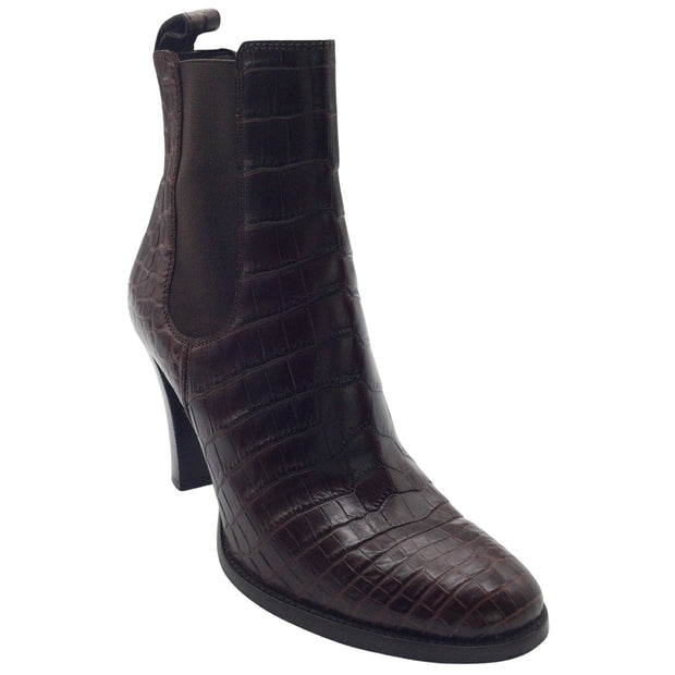 Ralph Lauren Collection Brown Alligator Embossed Leather Boots