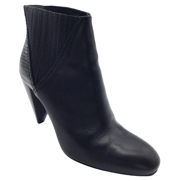 Lanvin Black Croc Embossed Leather Ankle Booties