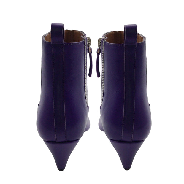 Sartore Purple Pointed Toe Leather Short Ankle Boots/Booties