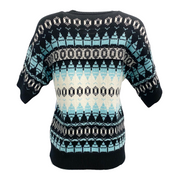 Emilio Pucci Embellished Wool Black and Turquoise Sweater