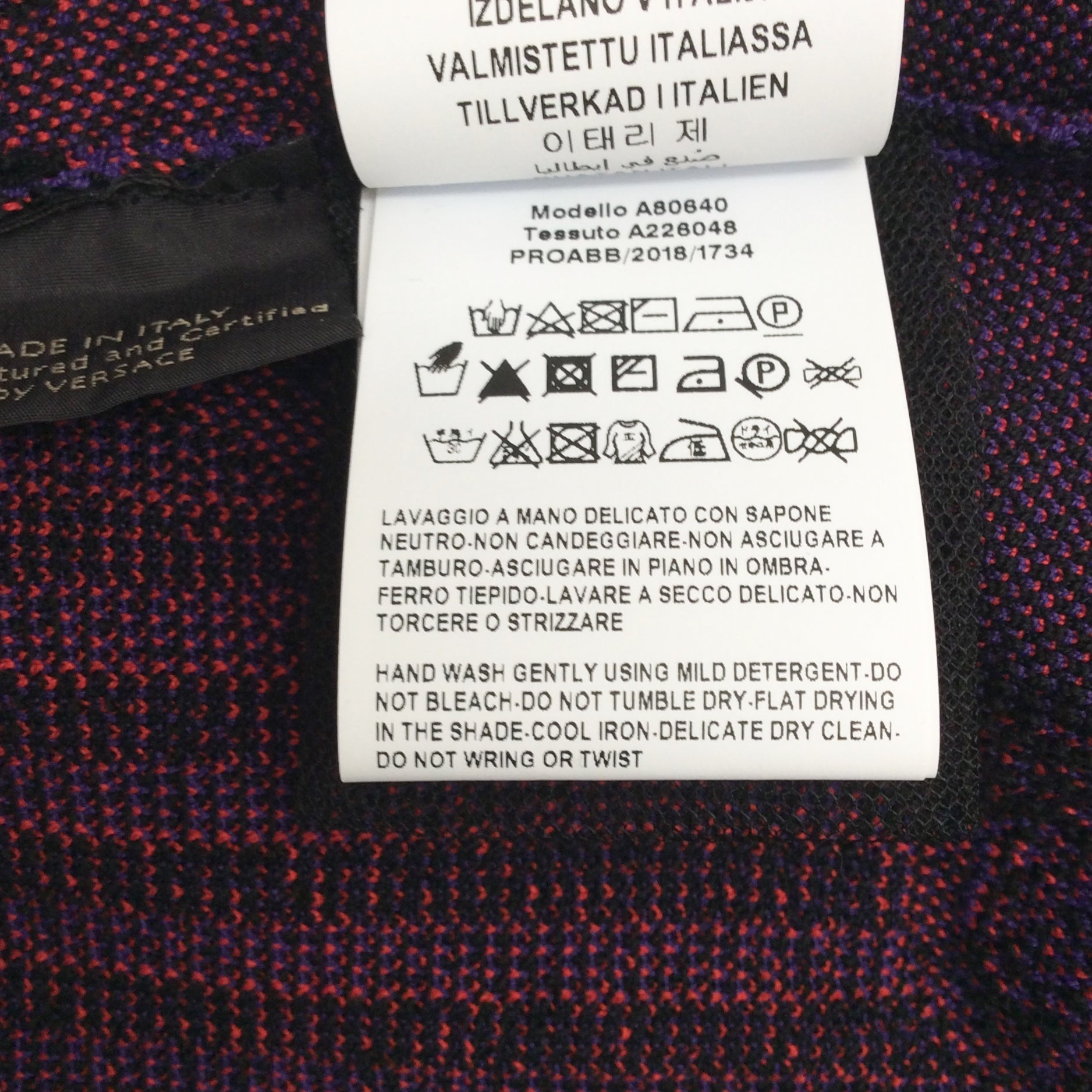 Versace Red / Purple / Black Intarsia Knit Dress
