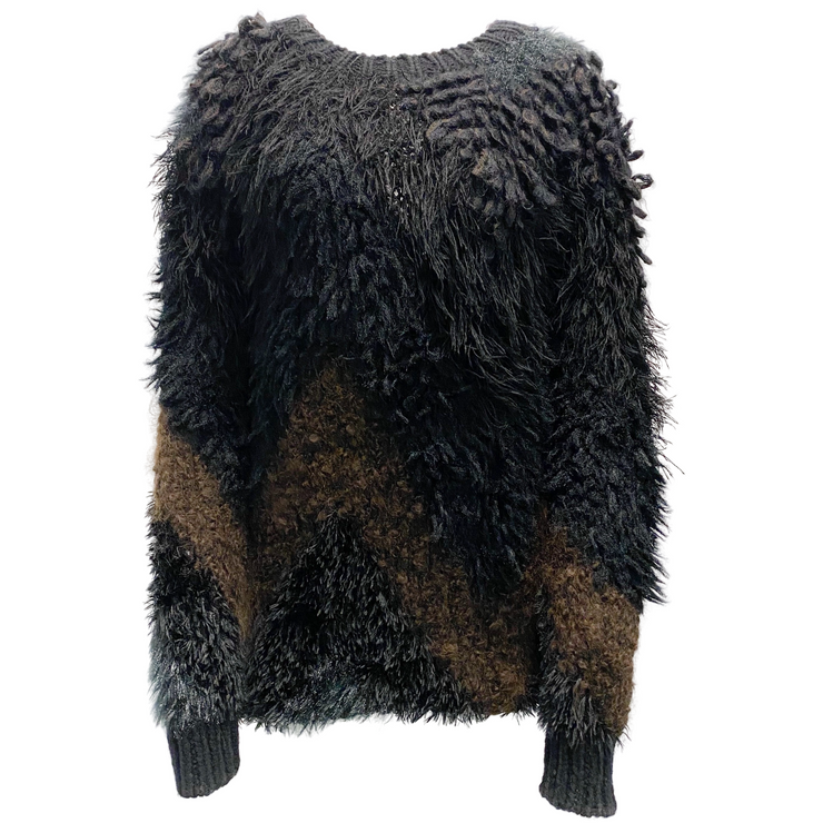 Junya Watanabe COMME des GARÇONS Black and Brown Textured  Sweater