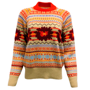 Sacai Open Back Knit Tan and Red Multi Sweater